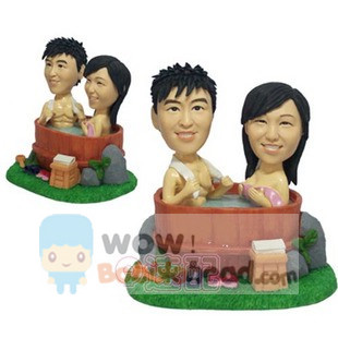 Custom Bathing Couple Anniversary Bobblehead