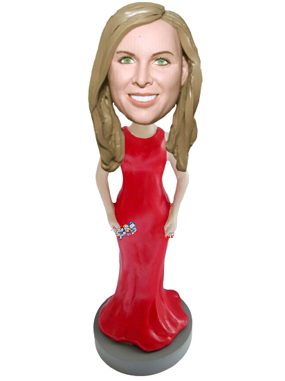 Custom Long Red Dress Personalized bobblehead