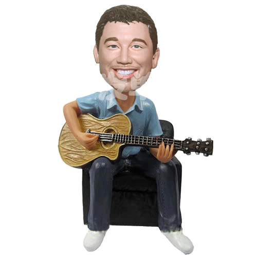 Custom Guitar Player on sofa bobblehead