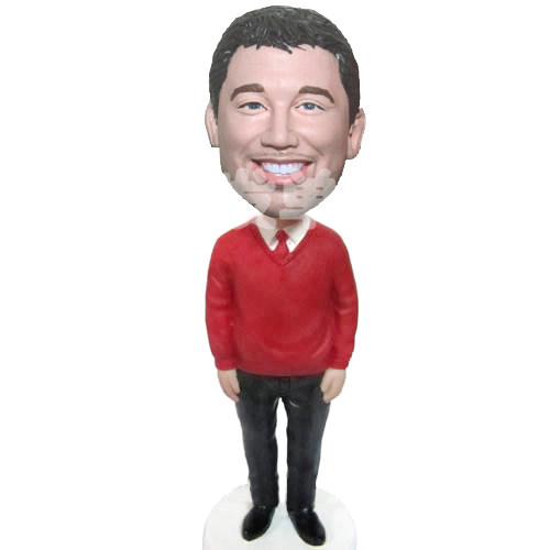 Custom Red Sweater Man bobblehead