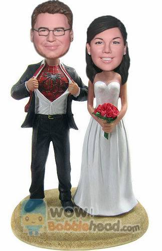 Custom Spiderman wedding bobbleheads