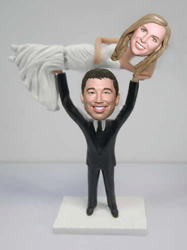 Custom Groom lifting bride overhead bobbleheads