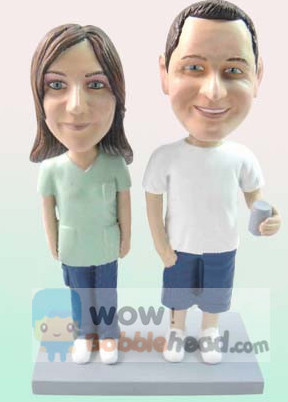 Custom Casual Couple Anniversary Bobbleheads