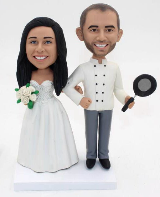Custom Custom Chef wedding bobbleheads