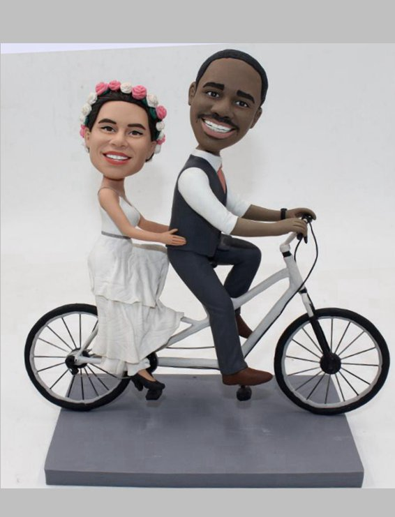 Custom Custom wedding bobblehead with tandem bicycle
