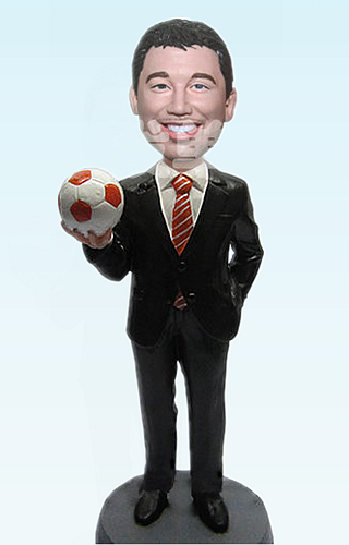 Custom Business Man with Soccer bobblehead