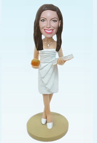 Custom Fashional woman with books bobblehead
