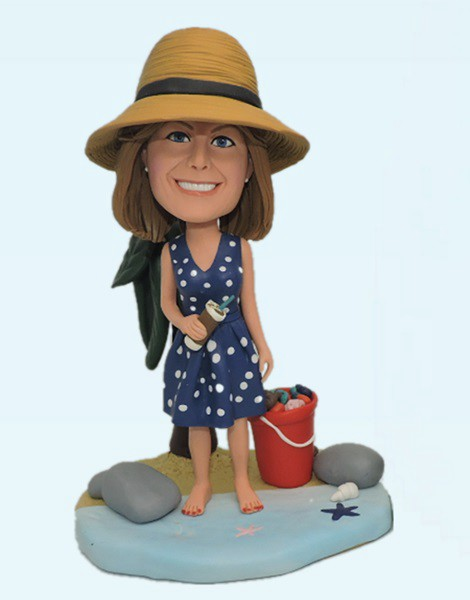 Custom Personalized Female Bobblehead Sea Beach
