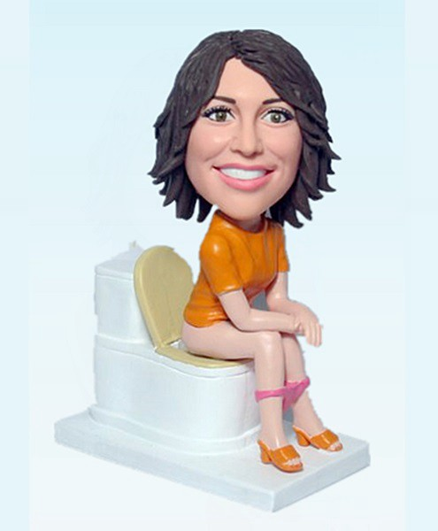Custom Lady on toilet bobblehead