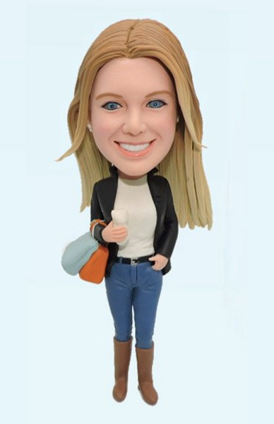Custom Fashional Girl with Shopping Bag bobblehead