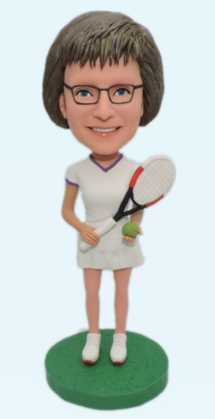 Custom Personalized Female Tennis Bobbleheads