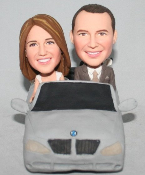 Custom Couple in Car Wedding Bobblehead