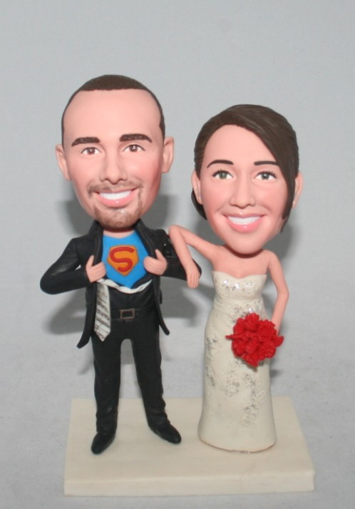 Custom Superman transform Wedding Bobblehead