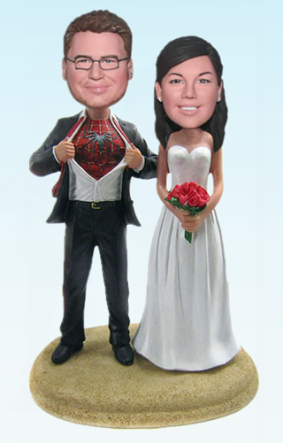 Custom Spiderman / Superman bobblehead Toppers