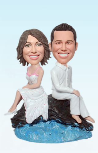 Custom Rock and sea wedding bobblehead BW22