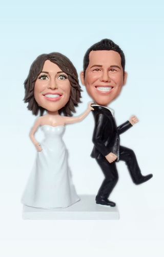 Custom Custom wedding bobbleheads groom running away