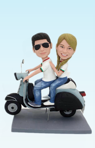 Custom Custom wedding bobbleheads with scooter