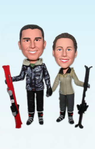 Custom Skiing wedding bobbleheads