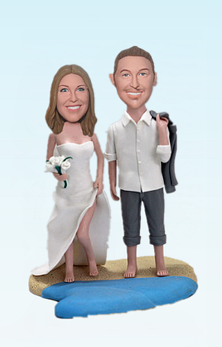 Custom Beach wedding cuple bobbleheads