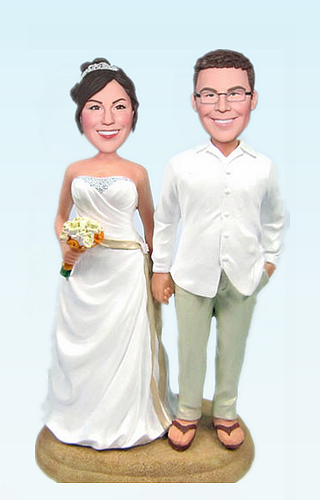 Custom Beach Casual wedding bobbleheads