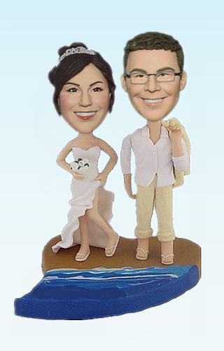 Custom Beach bobbleheads cake toppers