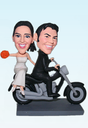 Custom Motorcycle Bobblehead Cake topper
