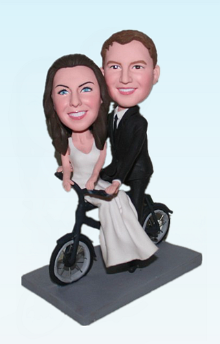 Custom Bicycle themed bobblehead toppers