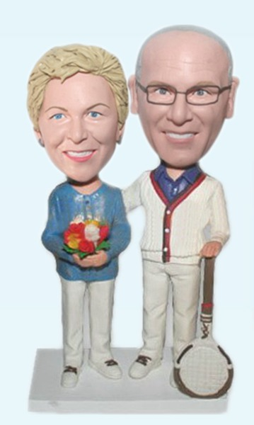 Custom Couple with tennis racket bobblehead