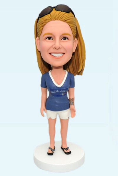 Custom Custom Female Bobblehead Bluejays Fans